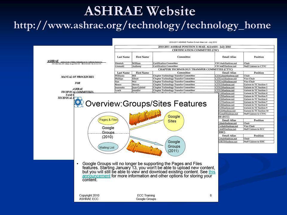 ASHRAE Website http://www.ashrae.org/technology/technology_home