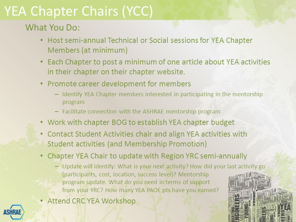 YEA Chapter Chairs (YCC) What You Do: Host semi-annual Technical or Social sessions for YEA Chapter Members (at minimum) Each Chapter to post a minimum of one article about YEA activities in their chapter on their chapter website.