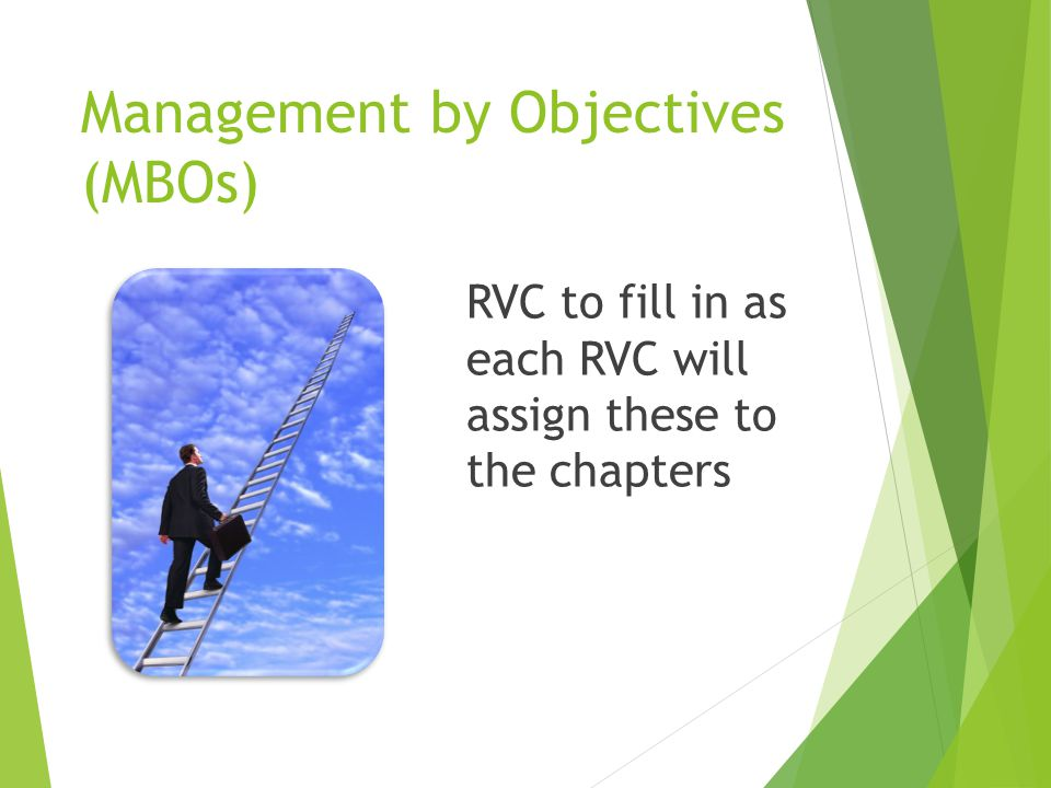 Management by Objectives (MBOs) RVC to fill in as each RVC will assign these to the chapters
