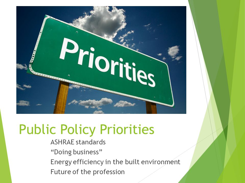 Public Policy Priorities ASHRAE standards Doing business Energy efficiency in the built environment Future of the profession
