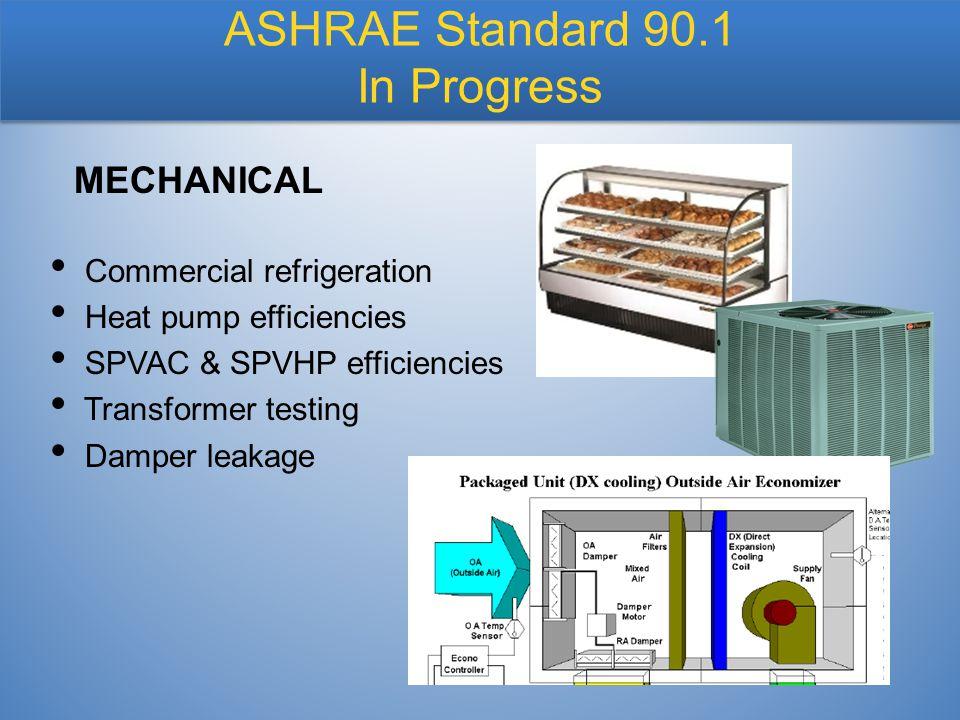 Commercial refrigeration Heat pump efficiencies SPVAC & SPVHP efficiencies Transformer testing Damper leakage MECHANICAL ASHRAE Standard 90.1 In Progr