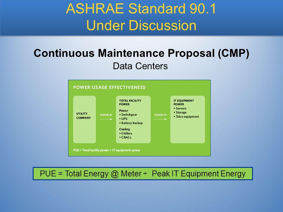 Data Centers Continuous Maintenance Proposal (CMP) ASHRAE Standard 90.1 Under Discussion PUE = Total Energy @ Meter ÷ Peak IT Equipment Energy