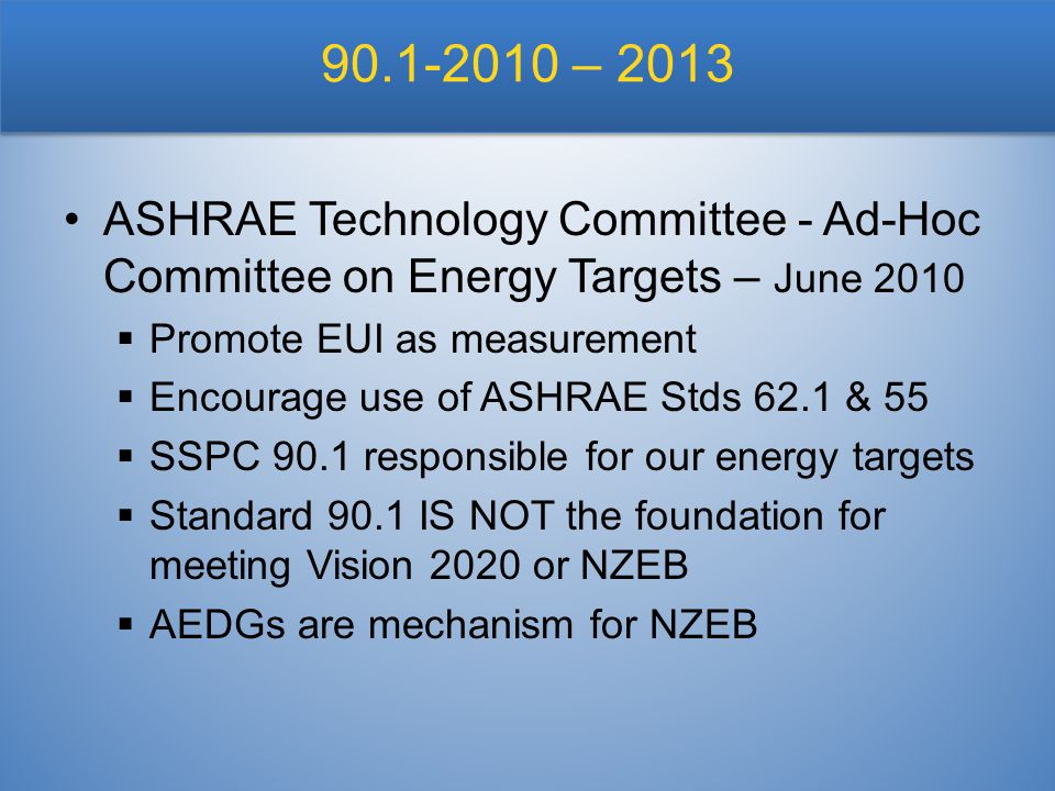 90.1-2010 – 2013 ASHRAE Technology Committee - Ad-Hoc Committee on Energy Targets – June 2010  Promote EUI as measurement  Encourage use of ASHRAE Stds 62.1 & 55  SSPC 90.1 responsible for our energy targets  Standard 90.1 IS NOT the foundation for meeting Vision 2020 or NZEB  AEDGs are mechanism for NZEB
