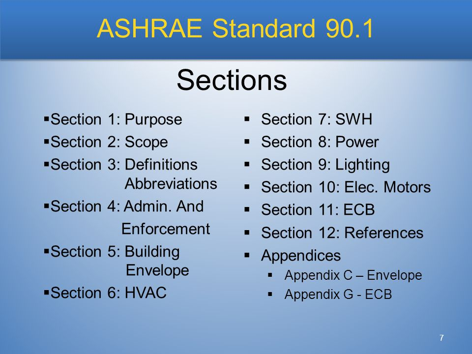 ASHRAE Standard 90.1 7  Section 1: Purpose  Section 2: Scope  Section 3: Definitions Abbreviations  Section 4: Admin. And Enforcement  Section 5: