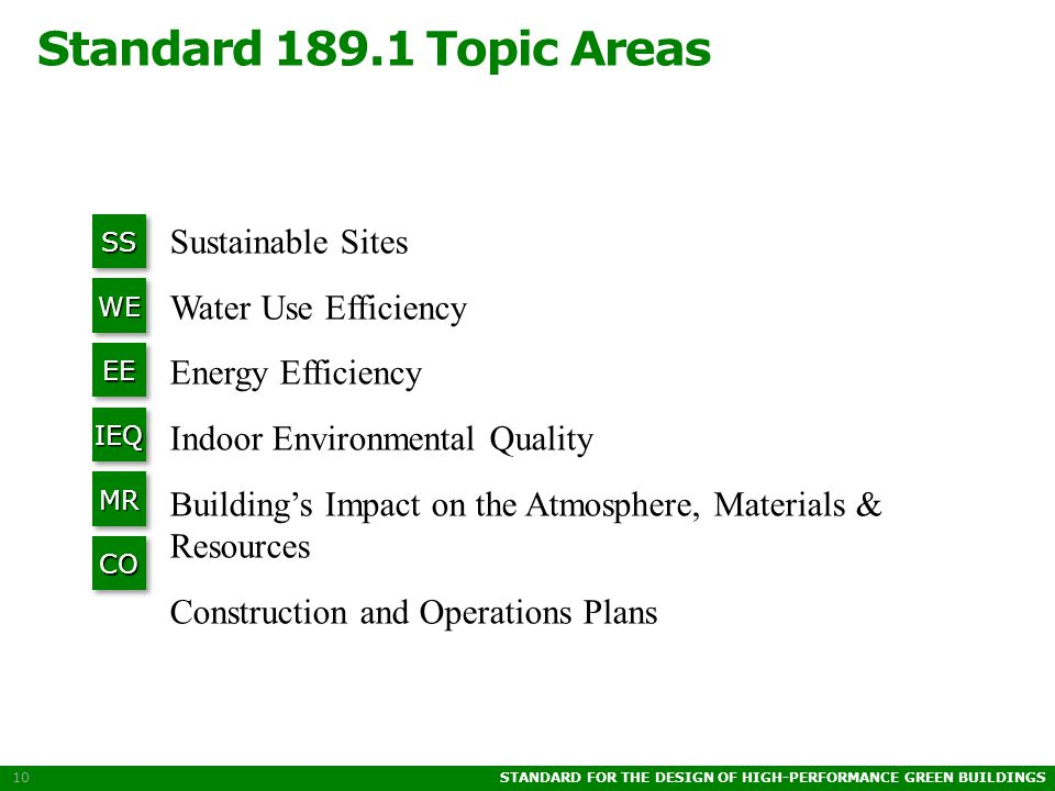 STANDARD FOR THE DESIGN OF HIGH-PERFORMANCE GREEN BUILDINGS 10 Standard 189.1 Topic Areas SSSS WEWE EEEE IEQIEQ MRMR COCO Sustainable Sites Water Use Efficiency Energy Efficiency Indoor Environmental Quality Building's Impact on the Atmosphere, Materials & Resources Construction and Operations Plans