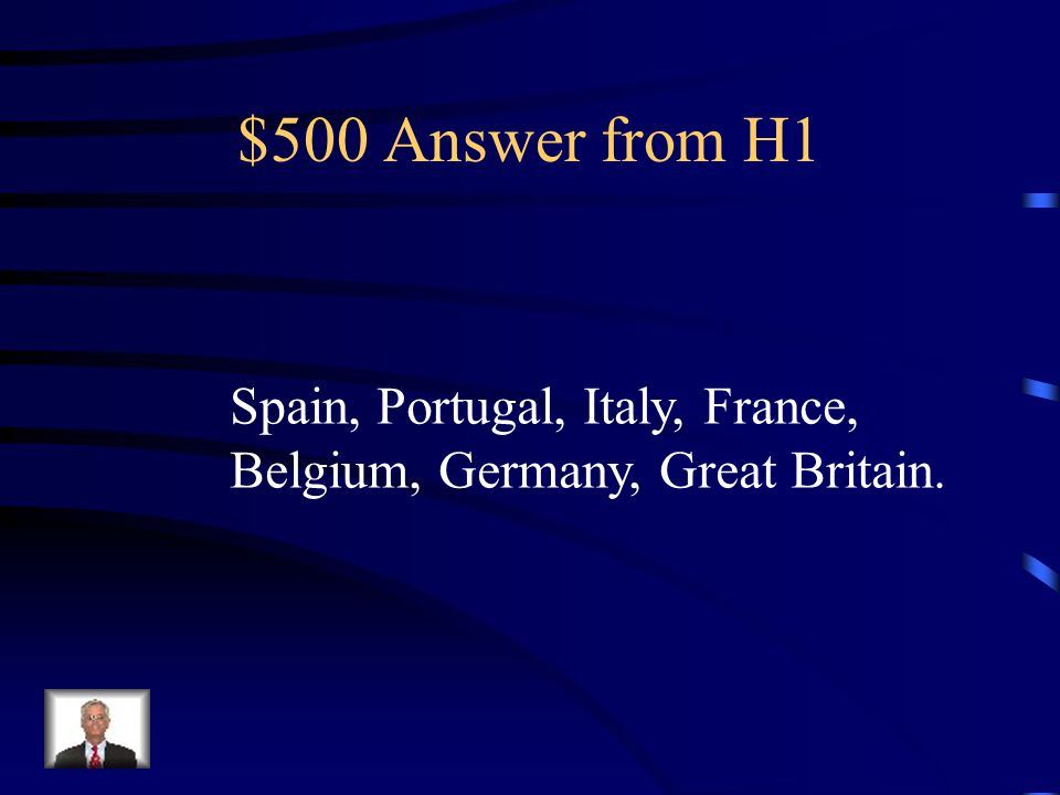 $500 Question from H1 Name three countries that wanted parts of Africa.