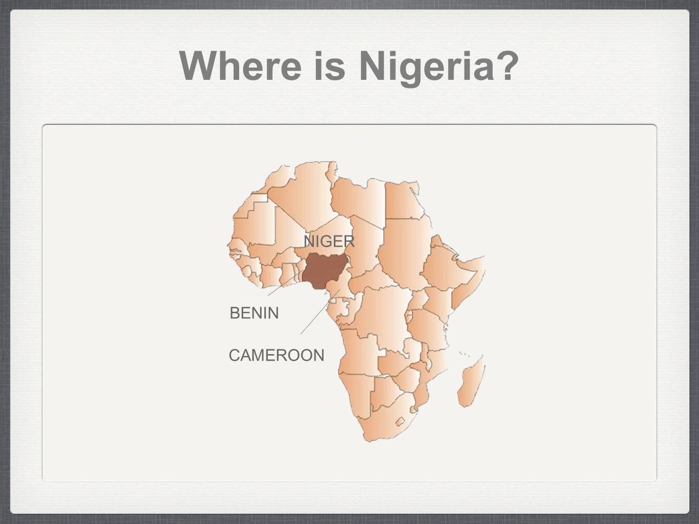 NigeriA Nigeria = Niger(Niger River runs through the country) + Area Capital City - Abuja Population - 149,229,090 (3 x Korea) #1st in Africa, #8th in the World Birth Rate - 39.9/1000 Infant Mortality Rate - 93.9/1000 Approximate Size - 923,768 sq km About twice the size of California Language - English(official), Hausa, Igbo(ibo), and Fulani Religion - Muslim 50%, Christian 40%, Others 10% Education - Happiness Survey Type of Government - Federal Republic Life Expectancy Male - about 46 years Female - about 47~48 years