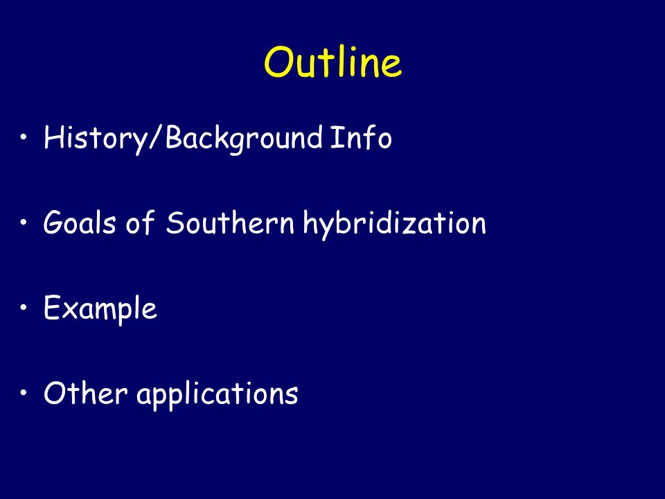 History/Background 'Southern' hybridization named after Sir Edwin Southern Developed in 1975 One of the most highly cited scientific publications Earned Sir Southern a Lasker Award in 2005