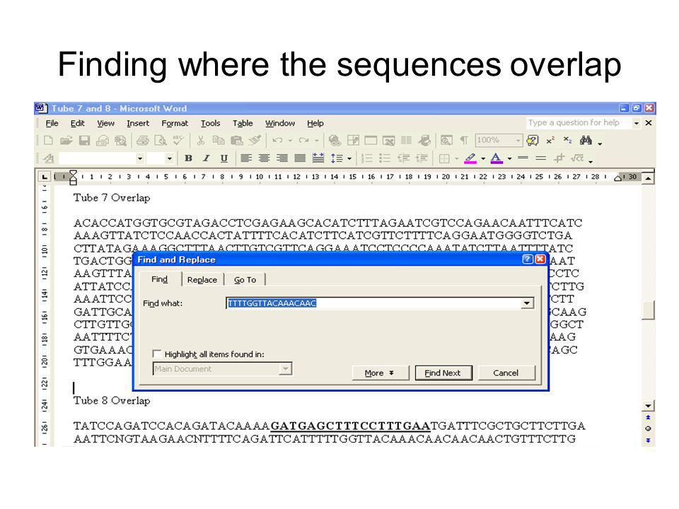 Finding where the sequences overlap