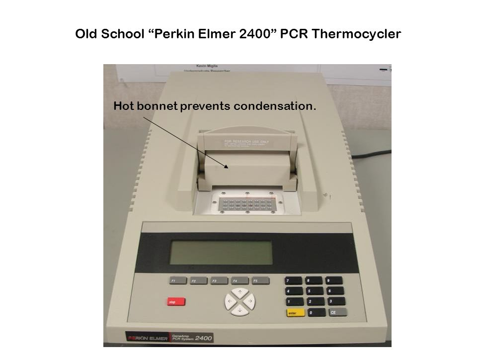 "Old School ""Perkin Elmer 2400"" PCR Thermocycler Hot bonnet prevents condensation."