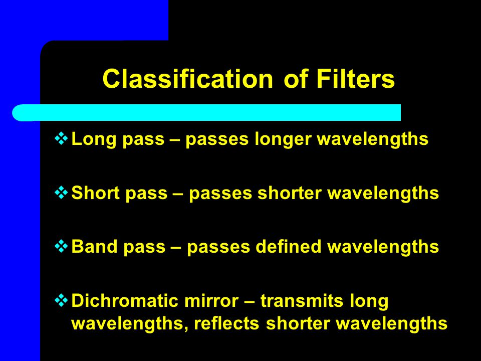 Classification of Filters  Long pass – passes longer wavelengths  Short pass – passes shorter wavelengths  Band pass – passes defined wavelengths 