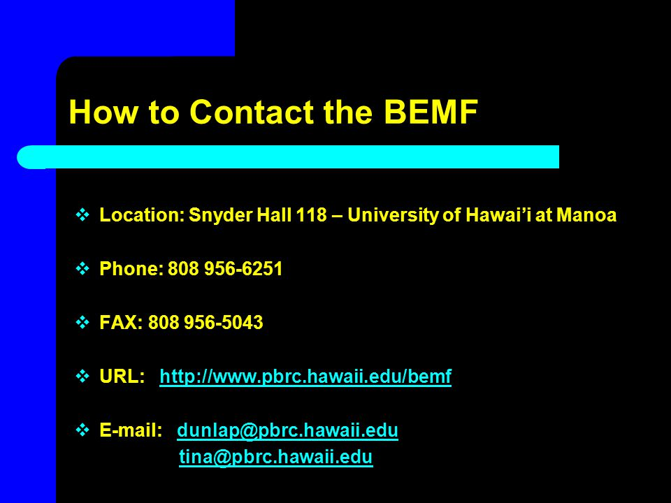 How to Contact the BEMF  Location: Snyder Hall 118 – University of Hawai'i at Manoa  Phone: 808 956-6251  FAX: 808 956-5043  URL: http://www.pbrc.