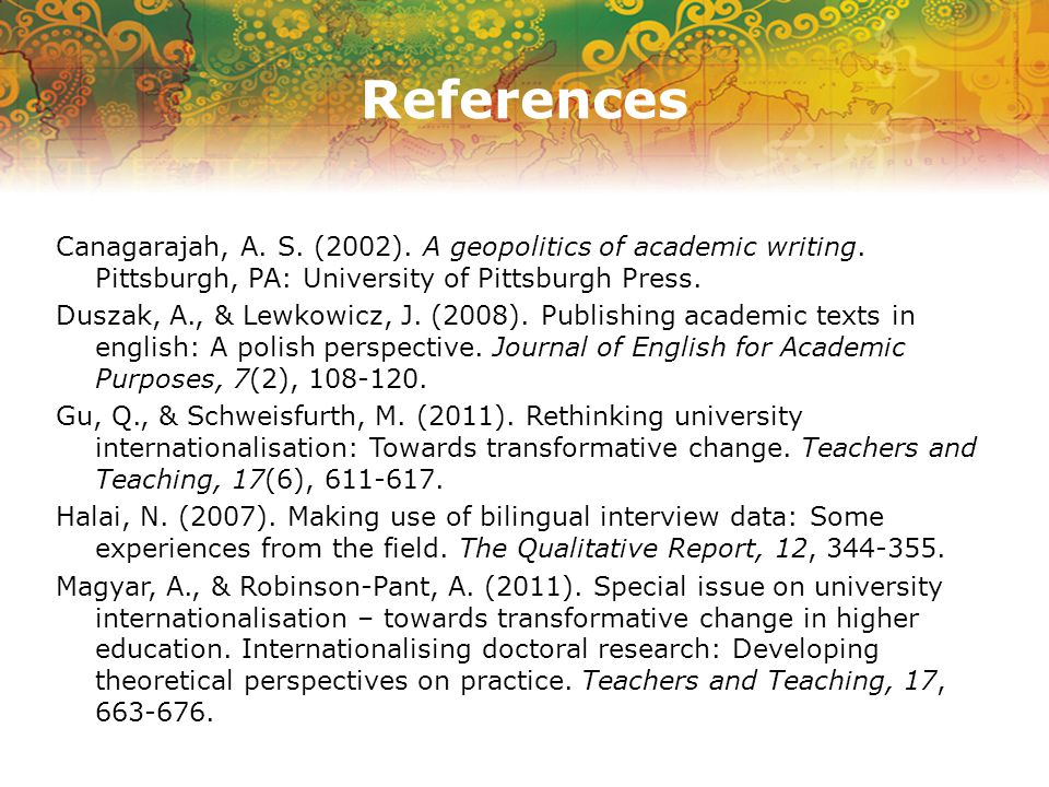 References Canagarajah, A. S. (2002). A geopolitics of academic writing.