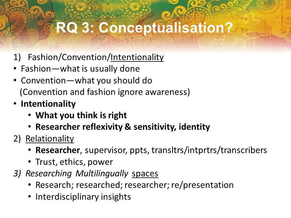 RQ 3: Conceptualisation.