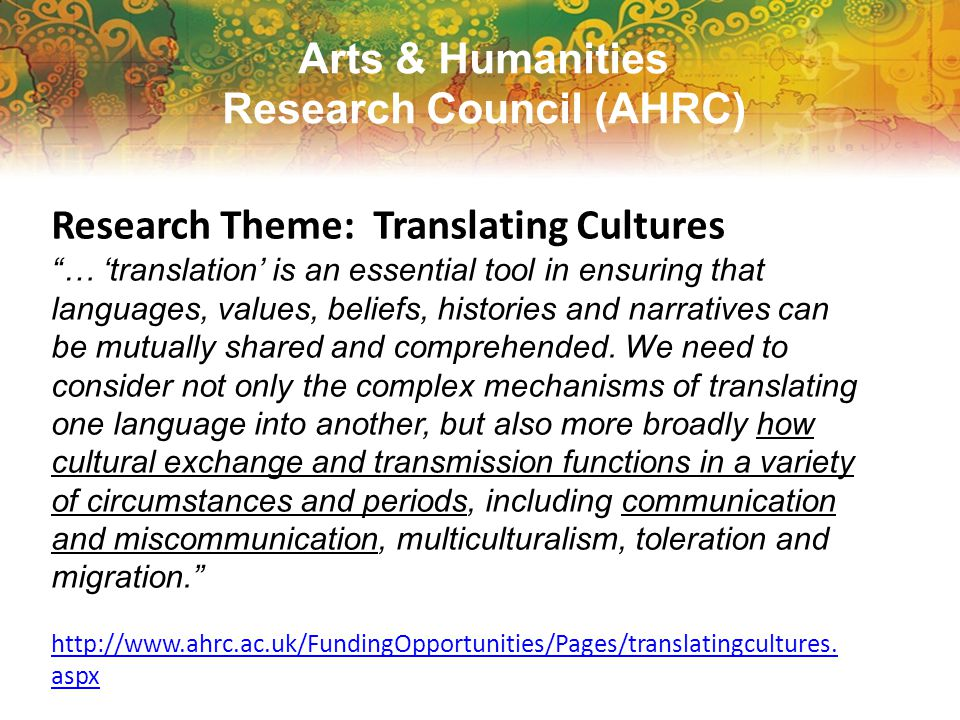 Aim of the project To investigate and clarify the epistemological and methodological processes of researching in more than one language—whether dialogic, observational, textual, or mediated—and their implications for research design, instruments, data collection and generation, translation and interpretation, and reporting.