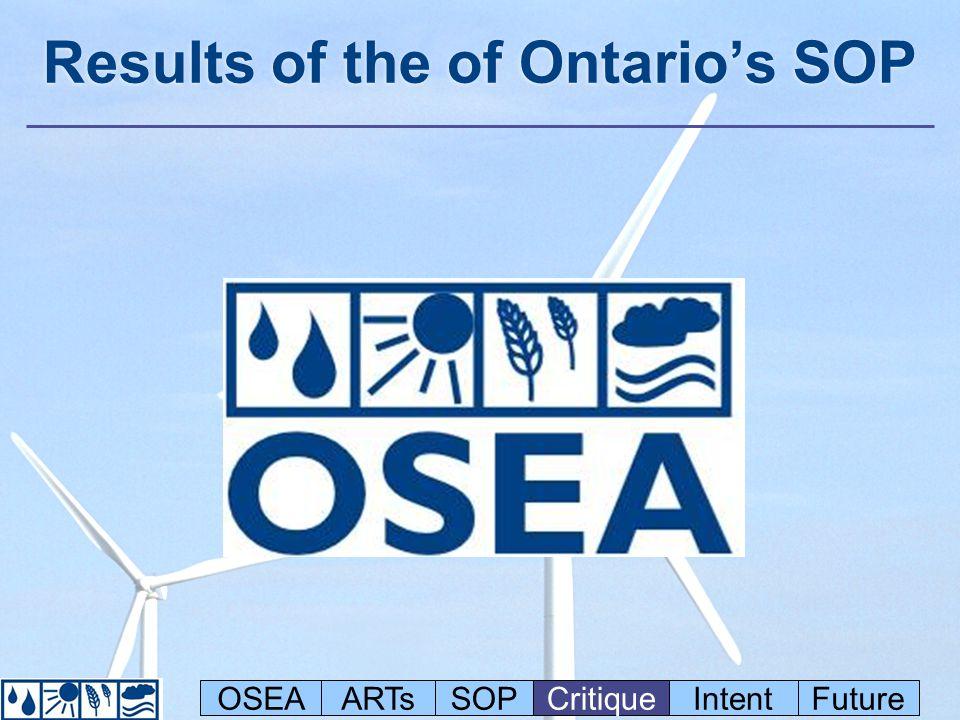 Results of the of Ontario's SOP OSEAARTsSOPCritiqueIntentFuture