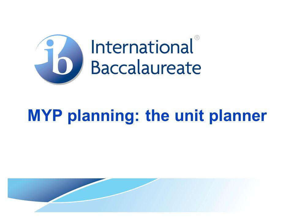 MYP planning: the unit planner
