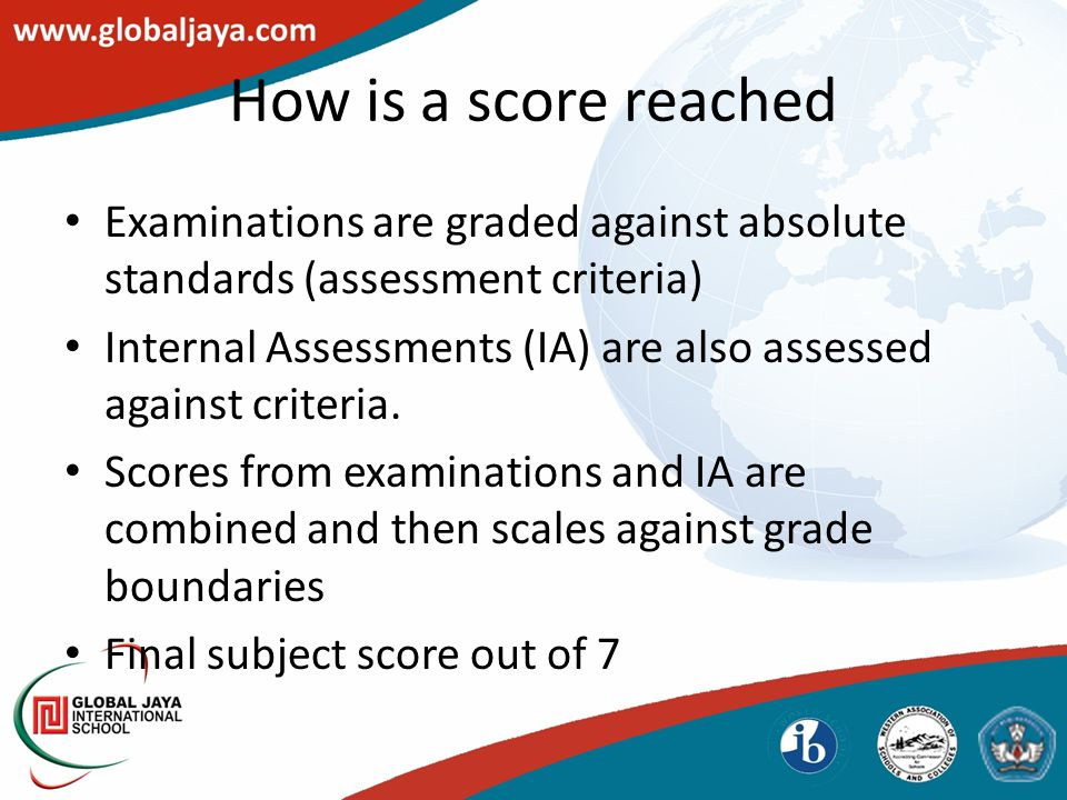 How is a score reached Examinations are graded against absolute standards (assessment criteria) Internal Assessments (IA) are also assessed against criteria.
