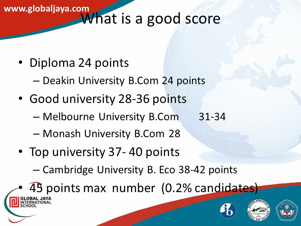 What is a good score Diploma 24 points – Deakin University B.Com 24 points Good university 28-36 points – Melbourne University B.Com31-34 – Monash University B.Com 28 Top university 37- 40 points – Cambridge University B.