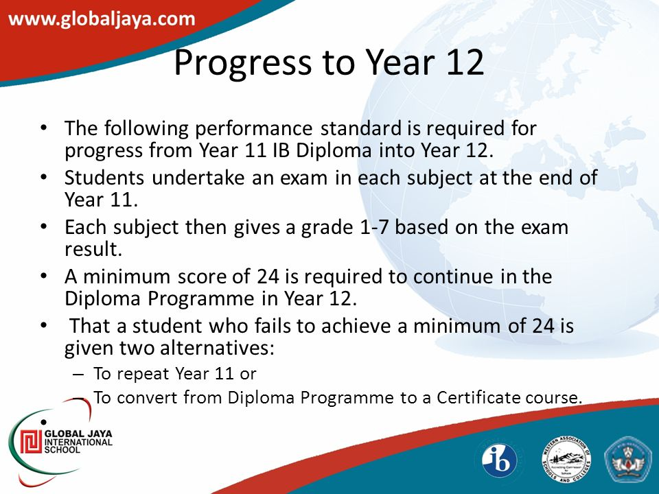 The following performance standard is required for progress from Year 11 IB Diploma into Year 12.