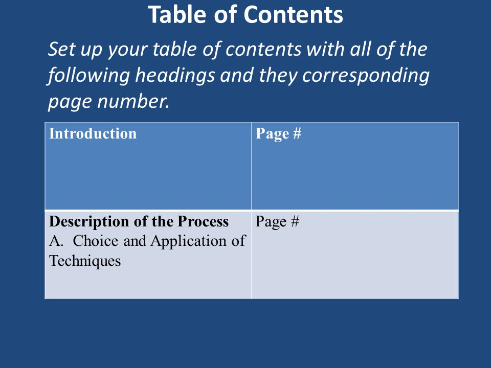 Table of Contents Set up your table of contents with all of the following headings and they corresponding page number. IntroductionPage # Description