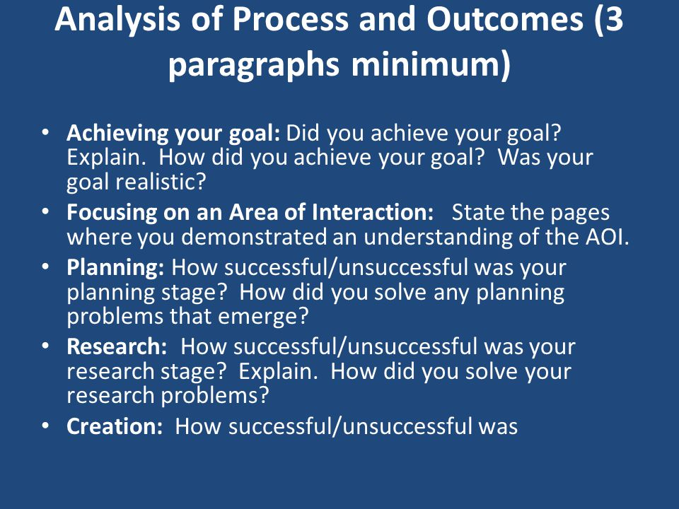Analysis of Process and Outcomes (3 paragraphs minimum) Achieving your goal: Did you achieve your goal? Explain. How did you achieve your goal? Was yo