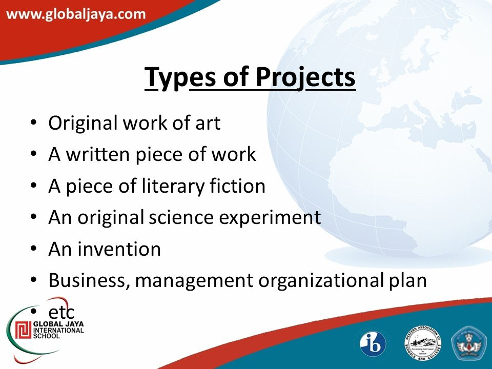 Types of Projects Original work of art A written piece of work A piece of literary fiction An original science experiment An invention Business, management organizational plan etc