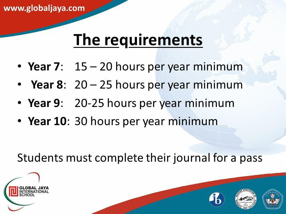 The requirements Year 7:15 – 20 hours per year minimum Year 8:20 – 25 hours per year minimum Year 9:20-25 hours per year minimum Year 10:30 hours per year minimum Students must complete their journal for a pass