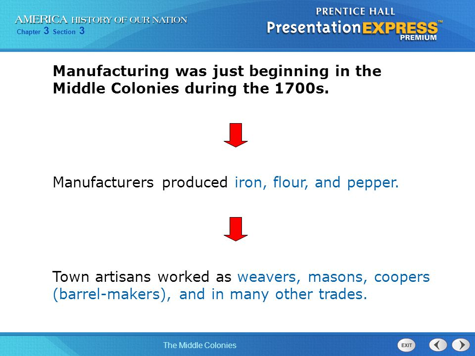 Chapter 3 Section 3 The Middle Colonies Manufacturing was just beginning in the Middle Colonies during the 1700s. Manufacturers produced iron, flour,