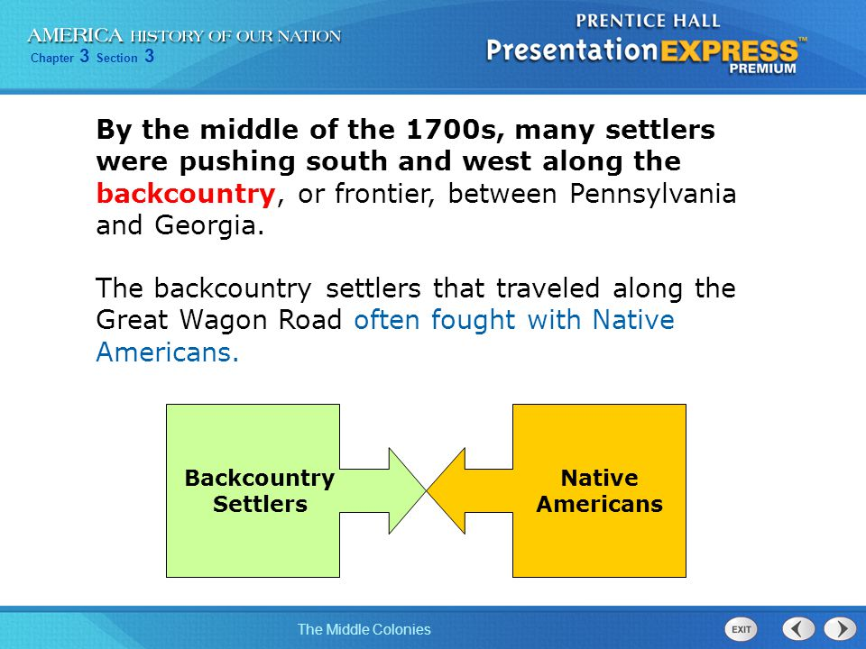 Chapter 3 Section 3 The Middle Colonies By the middle of the 1700s, many settlers were pushing south and west along the backcountry, or frontier, betw
