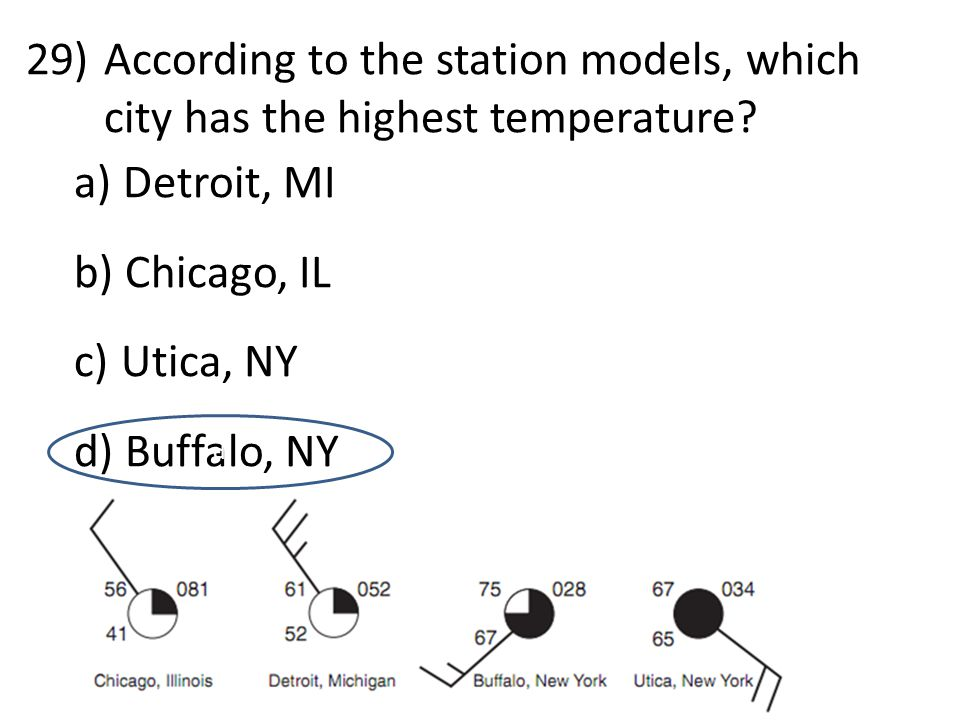 29)According to the station models, which city has the highest temperature.