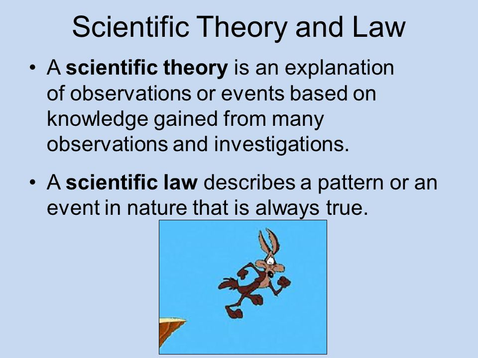 Scientific Theory and Law A scientific theory is an explanation of observations or events based on knowledge gained from many observations and investi