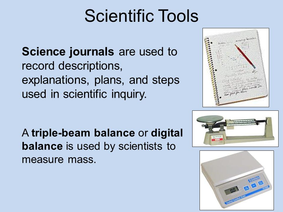 Scientific Tools Science journals are used to record descriptions, explanations, plans, and steps used in scientific inquiry.