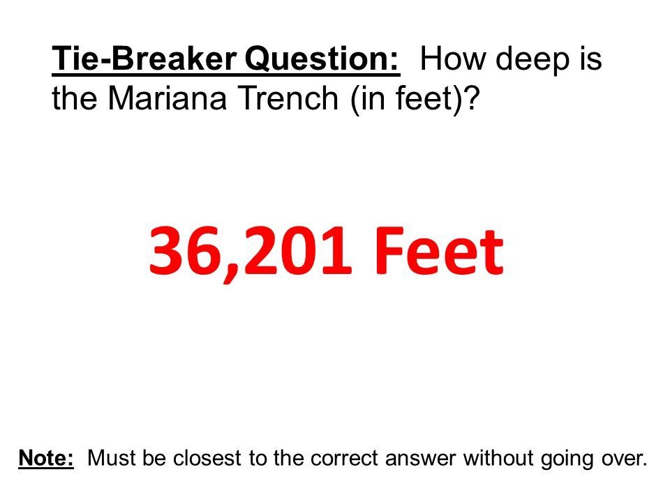 36,201 Feet Tie-Breaker Question: How deep is the Mariana Trench (in feet)?