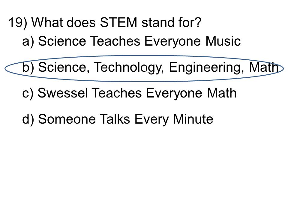 19)What does STEM stand for.