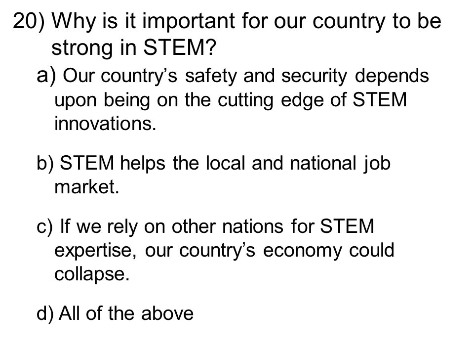 20)Why is it important for our country to be strong in STEM.