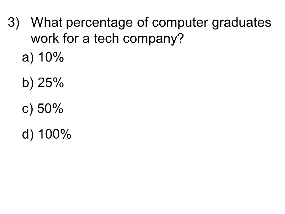 3)What percentage of computer graduates work for a tech company? a) 10% b) 25% c) 50% d) 100%