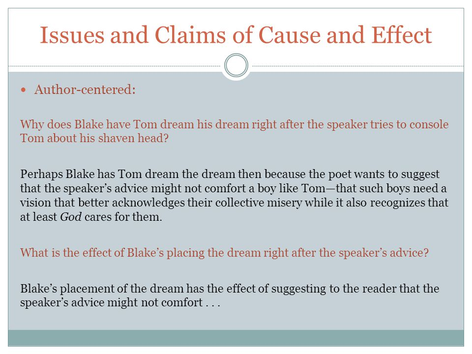 Issues and Claims of Cause and Effect Author-centered: Why does Blake have Tom dream his dream right after the speaker tries to console Tom about his shaven head.