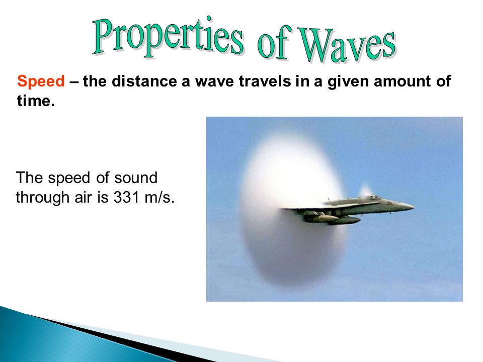 Speed – the distance a wave travels in a given amount of time.