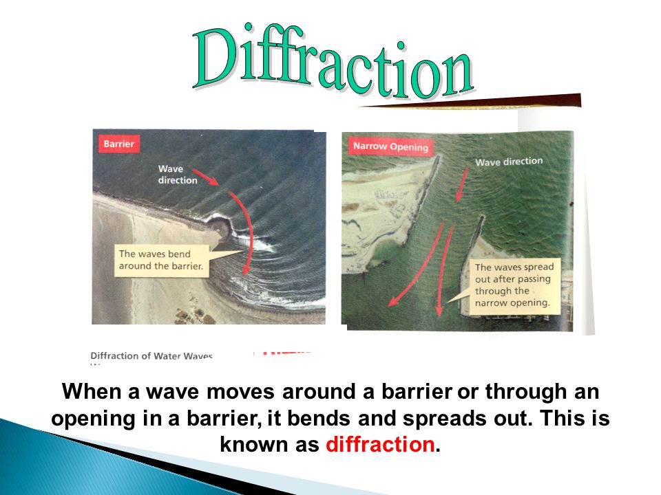 When a wave moves around a barrier or through an opening in a barrier, it bends and spreads out.