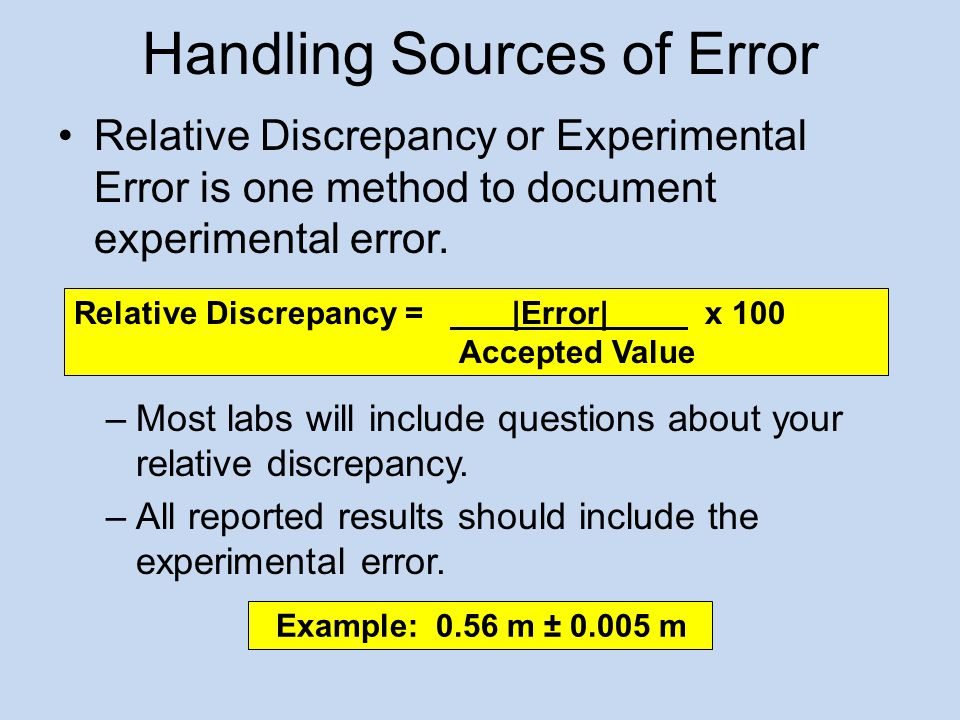 Handling Sources of Error Relative Discrepancy or Experimental Error is one method to document experimental error.
