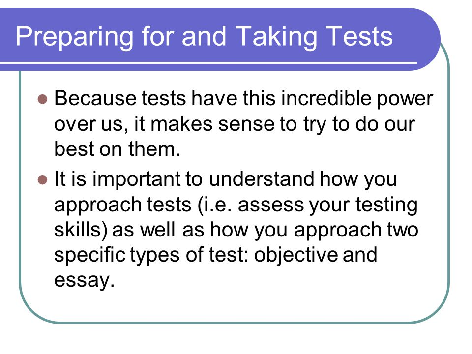 Key A yes answer to any one of these questions suggest that you may be experiencing test anxiety