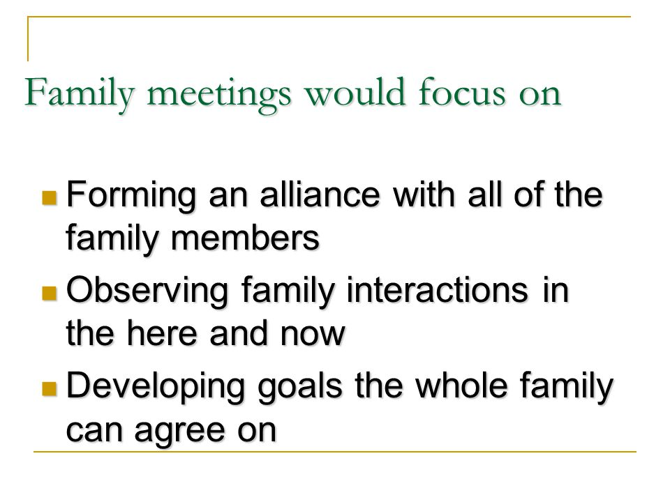 Family meetings would focus on Forming an alliance with all of the family members Forming an alliance with all of the family members Observing family interactions in the here and now Observing family interactions in the here and now Developing goals the whole family can agree on Developing goals the whole family can agree on