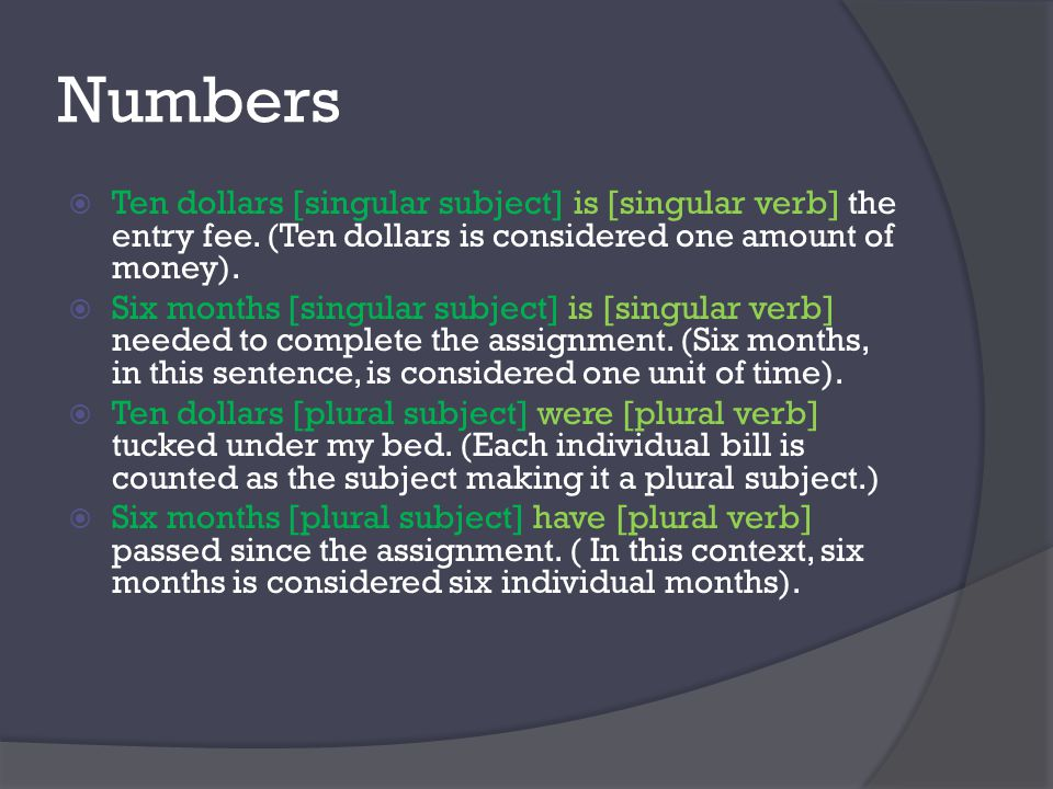 Numbers  Ten dollars [singular subject] is [singular verb] the entry fee.