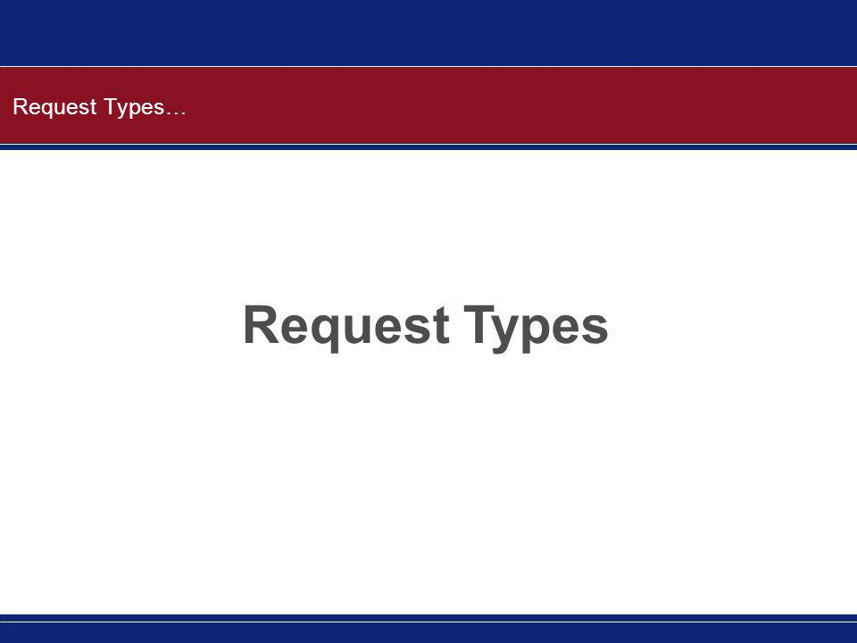 Request Types… Request Types