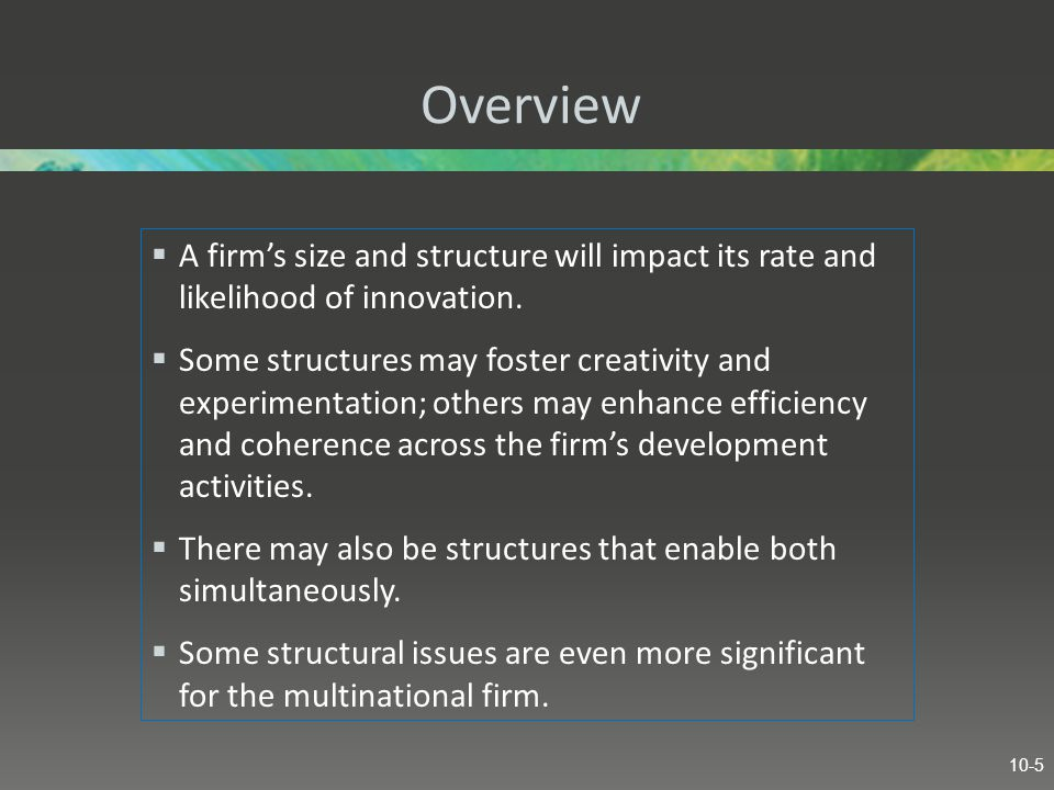 Overview  A firm's size and structure will impact its rate and likelihood of innovation.