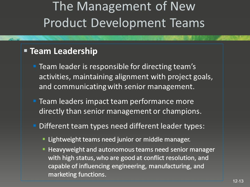 The Management of New Product Development Teams  Team Leadership  Team leader is responsible for directing team's activities, maintaining alignment