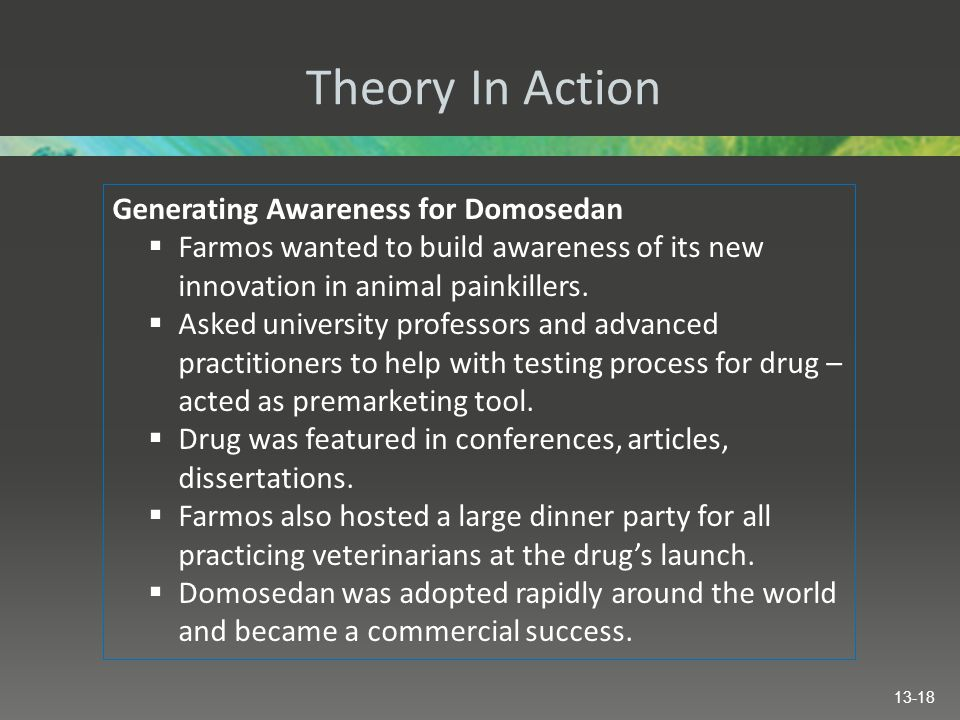 Theory In Action Generating Awareness for Domosedan  Farmos wanted to build awareness of its new innovation in animal painkillers.