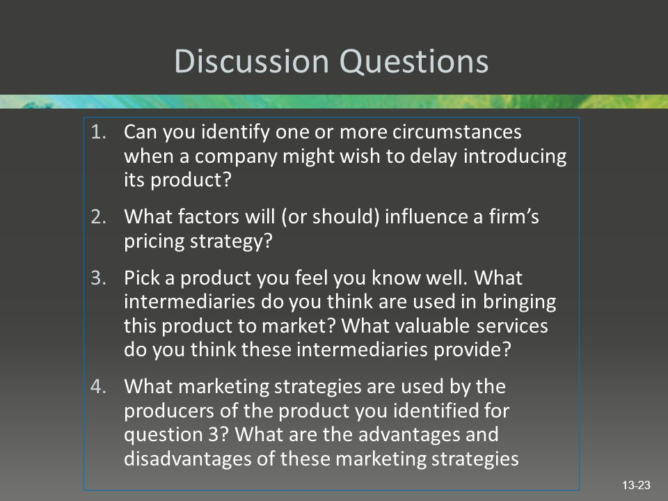 Discussion Questions 1.Can you identify one or more circumstances when a company might wish to delay introducing its product.