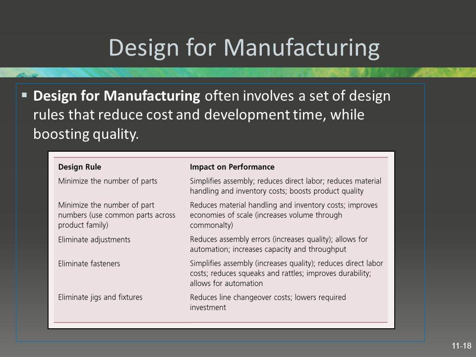 Design for Manufacturing  Design for Manufacturing often involves a set of design rules that reduce cost and development time, while boosting quality